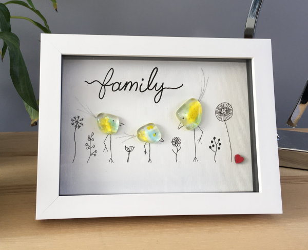 Family frame with 3 green and yellow fused glass birds and line drawn flowers