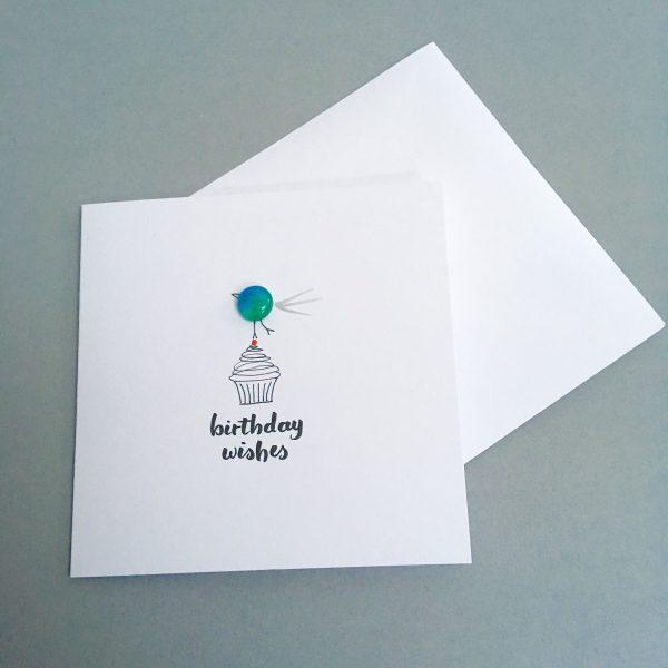 bird on cupcake birthday card