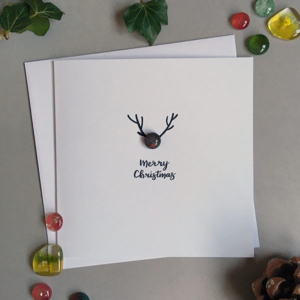 Glass reindeer Christmas Card