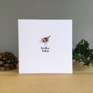 Glass robin Christmas card