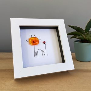 small frame with fused glass and line drawn cat