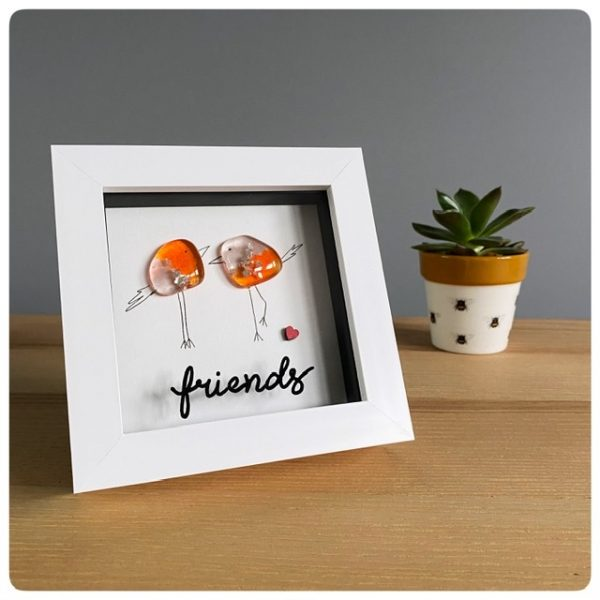 Friends picture with glass birds in orange and pink