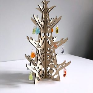 Wooden Christmas tree with glass decorations