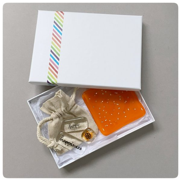 Orange glass gift set