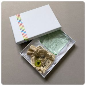 Green glass gift set