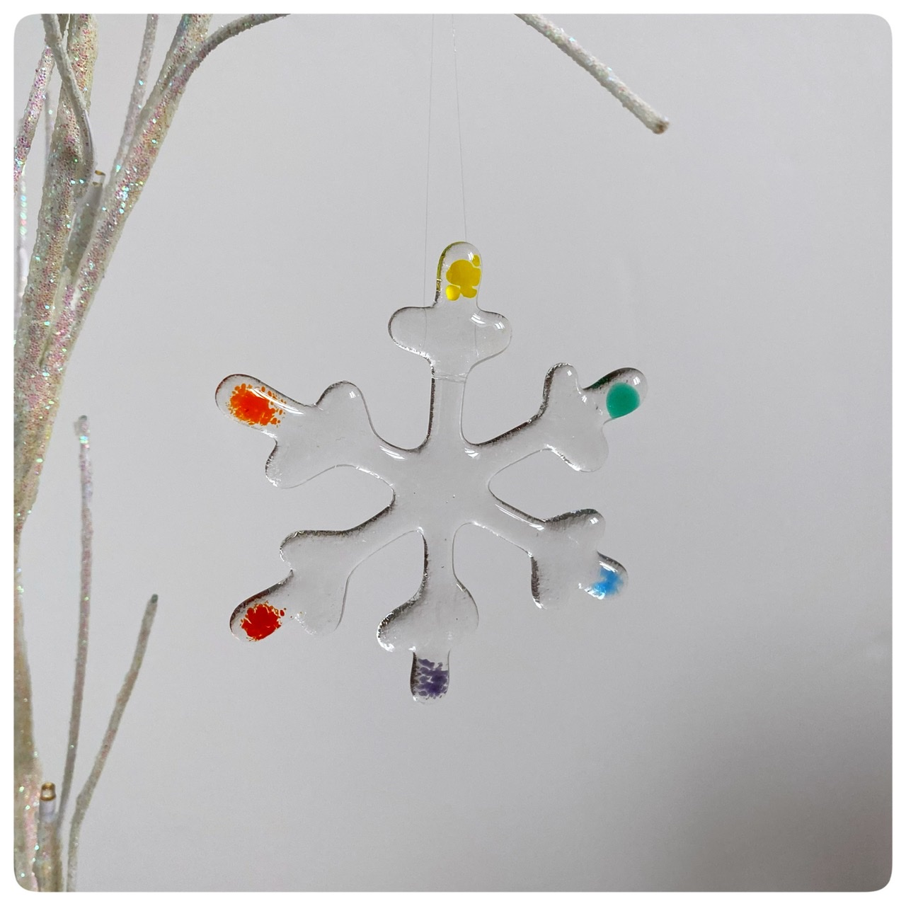 Rainbow glass snowflake