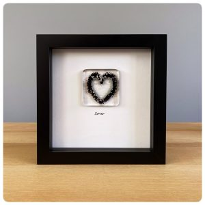 Black glass love heart frame
