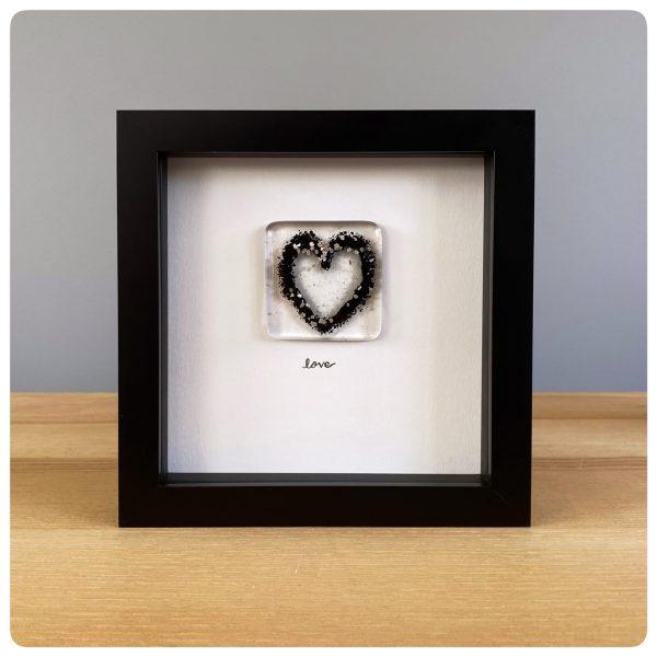 Black glass love heart frame